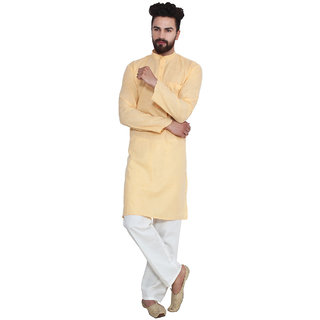 Sojanya Yellow Cotton Blend Plain Men's Kurta & Pyjama Sets