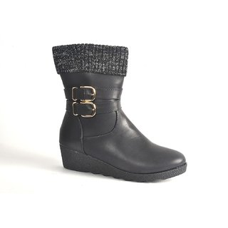STEPS BLACK PARTY WEAR BOOT FOR WOMEN (I-88-72-40)