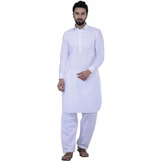 Sojanya White 100% Linen Plain Men's Kurta & Pyjama Sets