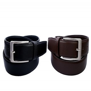 contra belt set of 2 pc. (35mm pu kanta single side black  brown) (Synthetic leather/Rexine)