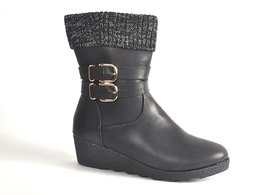STEPS BLACK PARTY WEAR BOOT FOR WOMEN (I-88-72-37)