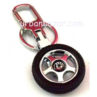 Skoda Rotary Wheel Tyre Keychain Car Bike Logo Key Chain