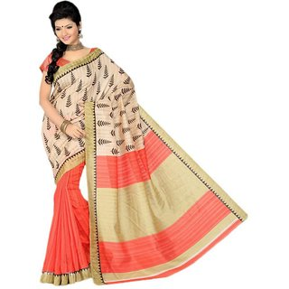 Svb Sarees Beige Block Print Bhagalpuri Silk Saree With Blouse
