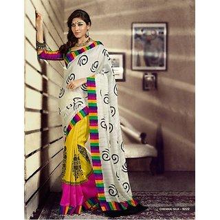Glam'Ore'by mehak Bhagalpur Silk White and Yellow Saree