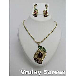 Vrulay Enigmatic Aloe Vera Green & Burgundy Gold Plated Jewelry