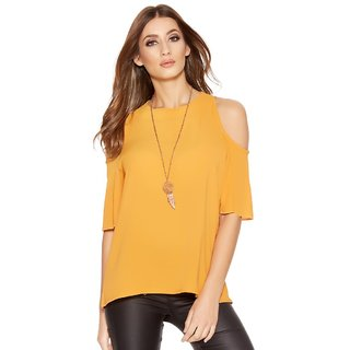 Fabrange Mustard Cold Shoulder Top For Women