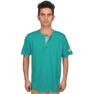 Olumide Cotton Crew Neck Placket T-Shirts Green