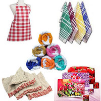 Complete Kitchen Set Of Apron, Napkin, Hand Towel, Duster ,table Mat & Coaster