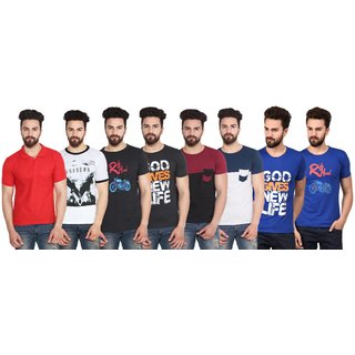 Stylogue Men'S Multicolor Round Neck T-Shirt(Pack Of 8)