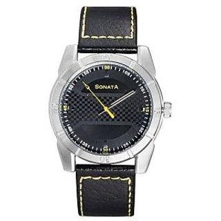 Sonata Quartz Green Round Men Watch 7968SL02