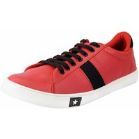 Fausto Men Red Lace-Up Casual Shoes