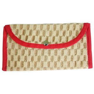 A One Handbags Accessories Cream Fabric Clutch Purse