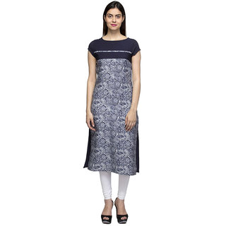 Laabha Multicoloured Crepe Straight Kurti