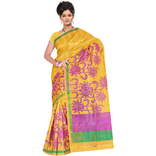 Fabdeal Yellow Colored Tissue Patta Printed Saree