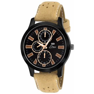 Eraa Men Elegant Black and Brown Wrist Watch EMJXBLK151