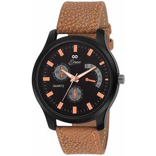Eraa Men alluring Brown and Black Wrist Watch EMJXBLK155
