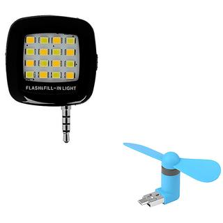 Techvik 2 In 1 Combo of 16 LEd Selfie Flash Light With 2in1 Micro Usb Fan
