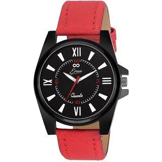 Eraa Men Sober Red and Black Wrist Watch EMJXRED161