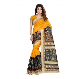 Meia Beige Bhagalpuri Silk Block Print Saree With Blouse