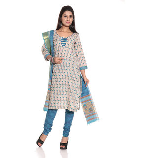de021f1973b2 Sapphire Blue   Ghost white Printed Ethnic Dress Material by Desh Ki Mitti  Prices in India- Shopclues- Online Shopping Store