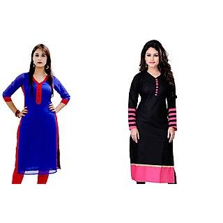 Fashionfounder Black  Blue Plain Cotton STitched Straight Kurti