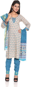 Sapphire Blue & Ghost white Printed Ethnic Dress Material by Desh Ki Mitti (Unstitched)