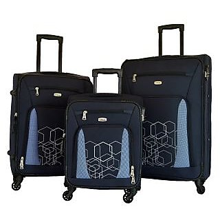 Timus Morocco Spinner Set Of 3 Blue 4 Wheel Trolley Suitcase Expandable  Cabin and Check-in Luggage (Blue)