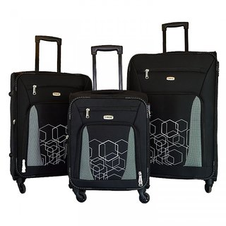 68058dce7329 Timus Morocco Spinner Black 4 Wheel Strolley Suitcase For Travel Set Of 3