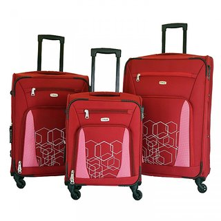 Timus Morocco Spinner Set Of 3 Red 4 Wheel Trolley Suitcase Expandable  Cabin and Check-in Luggage (Red)