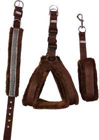 Petshop7 Nylon Brown fur 1 Inch Medium Dog Harness, Dog Collar  Leash (Chest Size  26-30 inch)