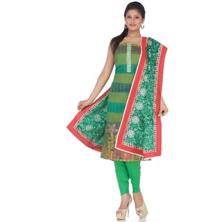 Chhabra 555 Green Chanderi Embroidery Suit Dupatta Unstitched