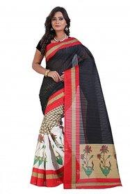 Svb Sarees Beige Block Print Bhagalpuri Silk Saree With Blouse