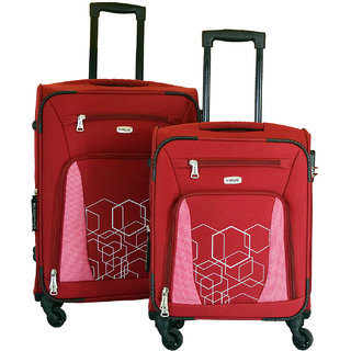 Timus Morocco Spinner 55  amp; 65cm 4 Wheel Trolley Suitcase Travel Luggage Expandable Cabin and Check in Luggage  Red
