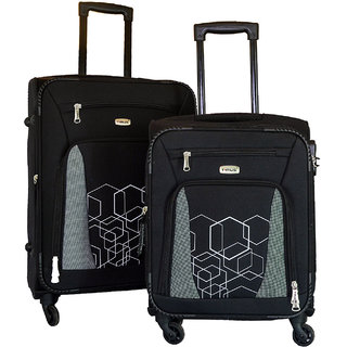 Timus Morocco Spinner 55  amp; 65cm 4 Wheel Trolley Suitcase Travel Luggage Expandable Cabin and Check in Luggage  Black