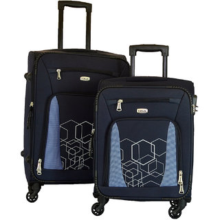 Timus Morocco Spinner Blue 55 65Cm 4 Wheel Strolley Suitcase For Travel Set Of 2