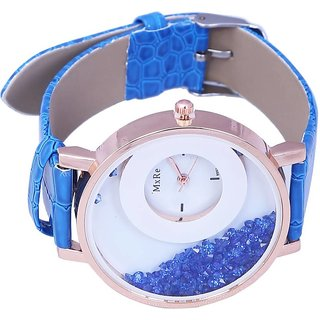 Mxre Blue Womens watches ladies watches girls watches designer watches crystal inside By star 6 month warranty