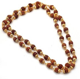 The Aabhu gold plated rudraksh mala chain long 28 inches for Men / Woman