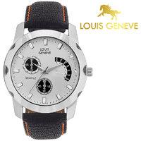 Louis Geneve Stylish  Elegant White Analog Round Wrist watch for Men  Boys-LG-MW-B-WHITE-051