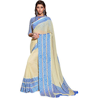 Discount Zila Cream Printed Georgette Saree With Blouse