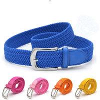 Elastic Waist Belt Stretch Woven Canvas Belt Men Elastic Belt Pin Buckle Belt Universal Trouser Pockets
