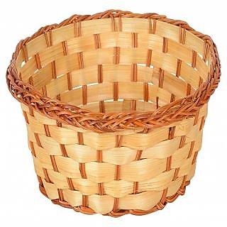 6thdimensions Bamboo Storage Basket (18 cm x 18 cm x 6 cm, Beige)