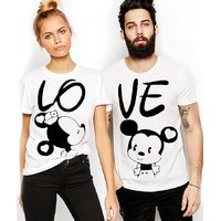 We2 White Round Neck Mickey Printed Couple Combo