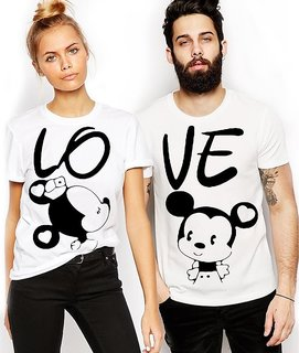 We2 White Round Neck Mickey Printed Couple Combo Cotton Tees