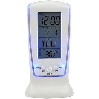 Digital White Table Clock