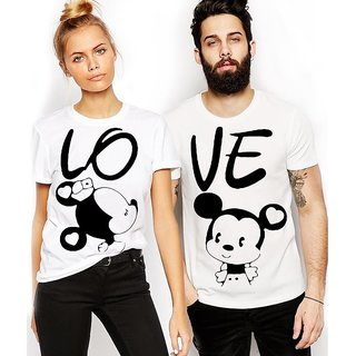 Melcom White Round Neck Mickey Printed Couple Combo