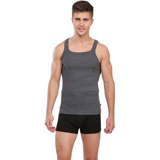 28c0ab62d94d9 Buy Jockey Charcoal Melange Square Neck Vest For Men Online   ₹250 ...