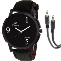 X5 Fusion B159 Blk Case Men'S Watch With Aux Cable