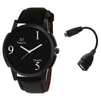 X5 Fusion B159 Blk Case Men'S Watch With Otg Cable