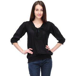 Klick2Style Black Elbow Sleeve Plain Crop Top