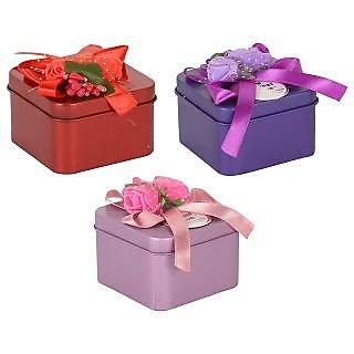6thdimensions Tin Storage Basket (6 cm x 6 cm x 4 cm, Multi-Coloured, Pack of 3)